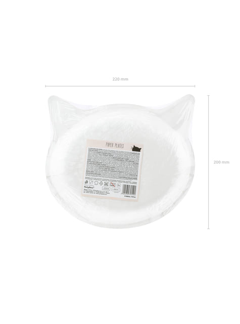 Set of 6 Cat-Shaped Paper Plates, Pink - Meow Party