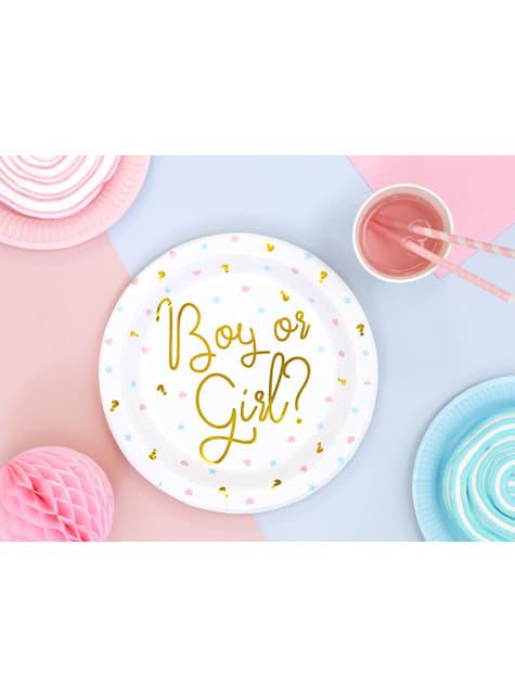 6 assiettes blanches avec texte doré