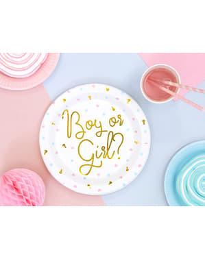6 pratos brancas com a inscrição dourada