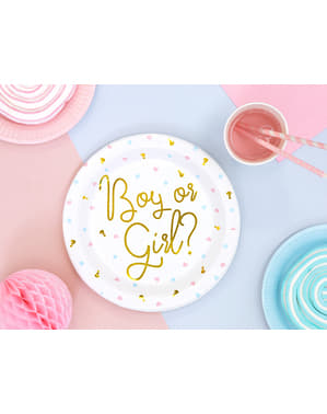 6個セット「男の子か女の子?」ゴールドテキスト - 性別明らかにパーティーとホワイトペーパープレート