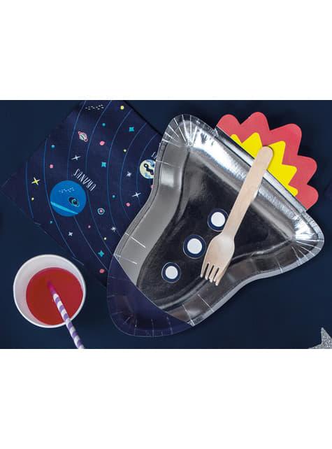 6 platos plateados con forma de cohete de papel (21,5x29,5 cm) - Space Party - para tus fiestas