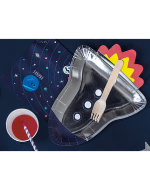 6 assiettes argentées en forme de fusée en carton - Space Party