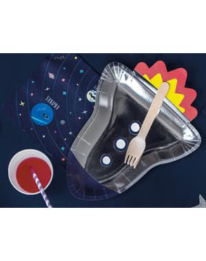 6 platos plateados con forma de cohete de papel (21,5x29,5 cm) - Space Party