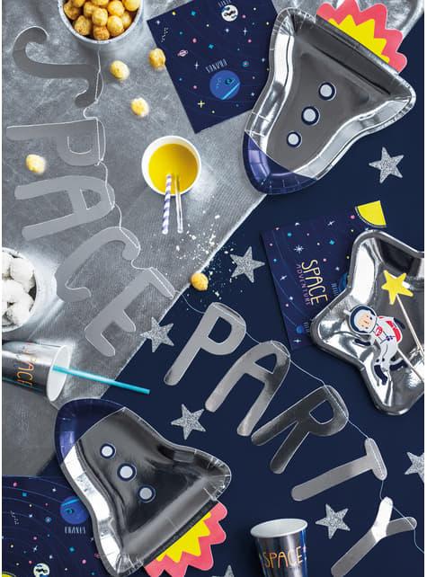 6 platos plateados con forma de cohete de papel (21,5x29,5 cm) - Space Party - barato