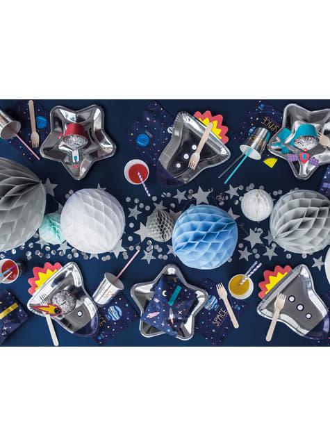 6 platos plateados con forma de cohete de papel (21,5x29,5 cm) - Space Party - comprar