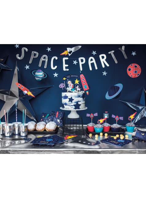 6 platos plateados con forma de cohete de papel (21,5x29,5 cm) - Space Party - para niños y adultos