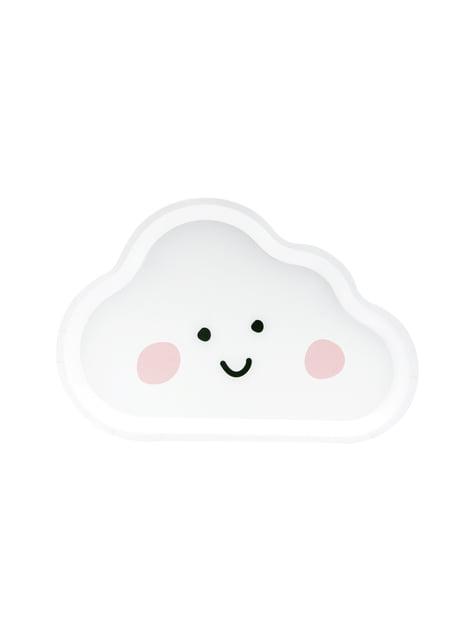 6 platos blancos con forma de nube de papel (26x17 cm)