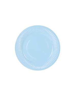 6 assiettes bleu ciel en carton - Gender Reval Party