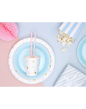 6 platos azul cielo de papel (18 cm) - Gender Reveal Party