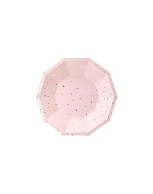 6 assiettes roses pastel avec étoiles dorées en carton