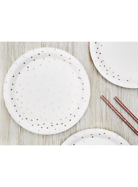 6 platos blancos con lunares en oro rosas de papel (18 cm) - Polka Dots Collection - para tus fiestas