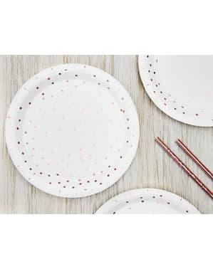 6 pratos brancas com bolinhas de papel ouro ros (18 cm) - Polka Dots Collection