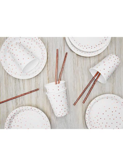 6 platos blancos con lunares en oro rosas de papel (18 cm) - Polka Dots Collection - barato