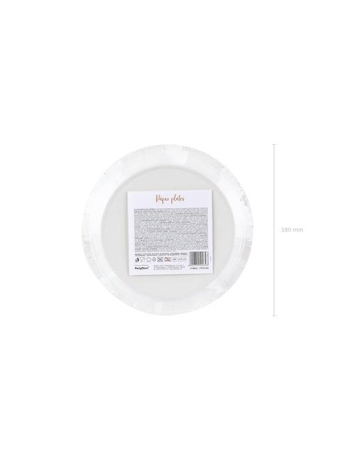 6 platos blancos con lunares en oro rosas de papel (18 cm) - Polka Dots Collection - comprar