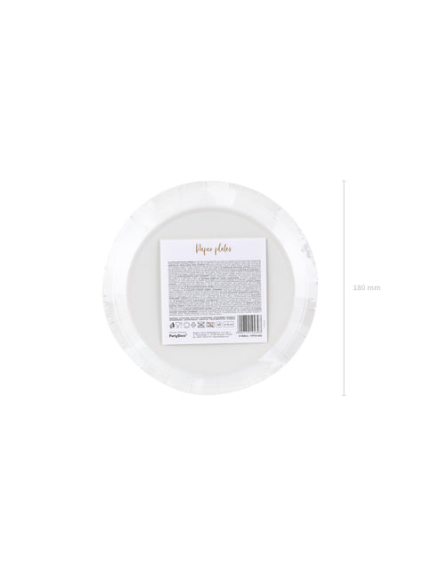 6 White Paper Plates with Rose Gold Dot (18 cm) - Polka Dots Collection