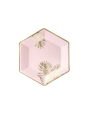 6 piatti pentagonali rosa con foglie dorate di carta (23 cm)