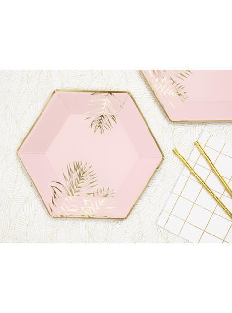 6 platos pentagonales rosas con hojas doradas de papel (23 cm)