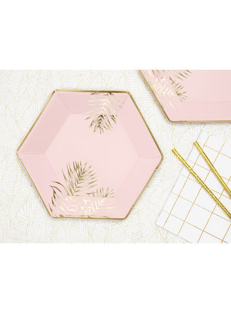 6 Hexagon Paper Plates with Gold Leaves, Pink (23 cm)