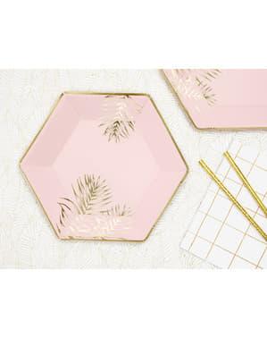 6 zeskantig papieren borden met gouden bladeren, roze  (23 cm)