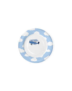 6 piatti bianchi con stampe di aeroplani azzurri di cart (18 cm) - Little Plane