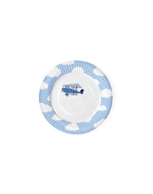 Zestaw 6 białe papierowe talerze niebieski samolot - Little Plane