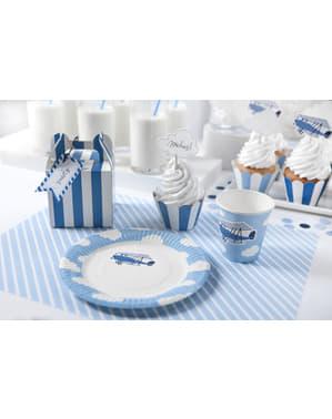 Mavi Düzlemli 6'lı Beyaz Kağıt Tabaklı Set - Küçük Düzlem