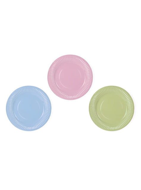 6 platos multicolor de papel (18 cm) - Pastelove