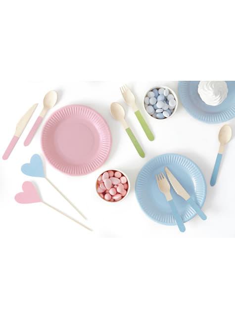 6 platos multicolor de papel (18 cm) - Pastelove - para niños y adultos