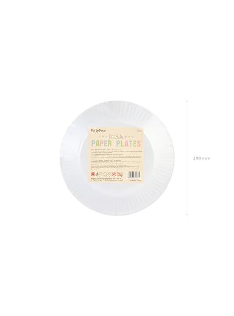 6 platos multicolor de papel (18 cm) - Pastelove - original