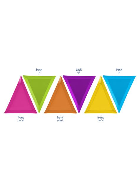 6 platos triangulares multicolor de papel (19,5x23,5) - Monsters Party - para tus fiestas