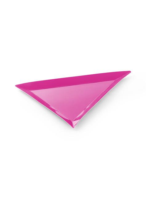 6 platos triangulares multicolor de papel (19,5x23,5) - Monsters Party - barato