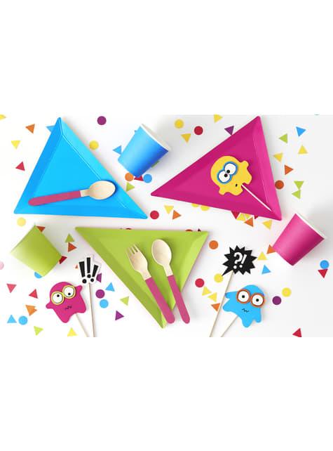 6 platos triangulares multicolor de papel (19,5x23,5) - Monsters Party