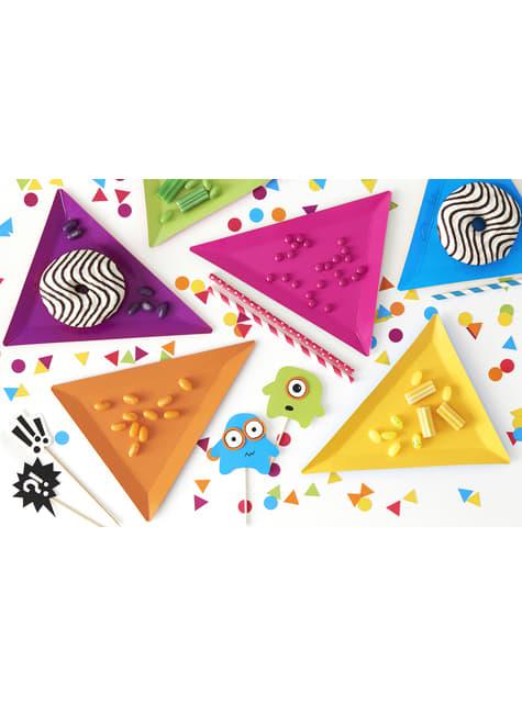 6 platos triangulares multicolor de papel (19,5x23,5) - Monsters Party - comprar