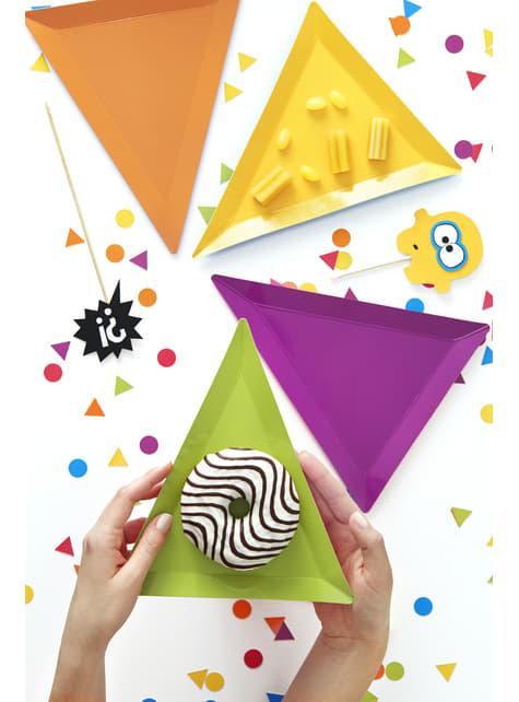 6 platos triangulares multicolor de papel (19,5x23,5) - Monsters Party - para niños y adultos
