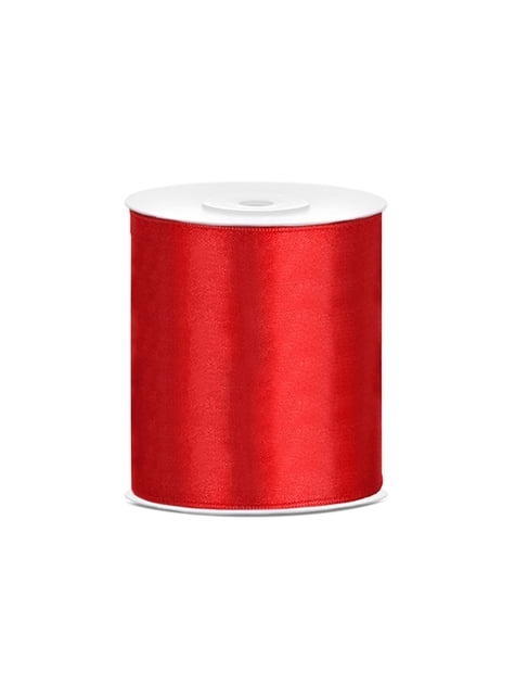 Cinta roja satinada de 10cm x 25m