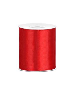 Panglică satinată roșie de 10 cm x 25 m