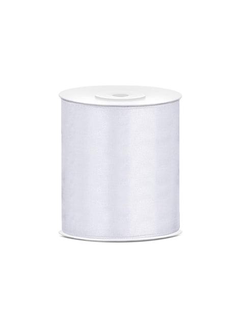 Fita acetinada branca de  10cm x 25m