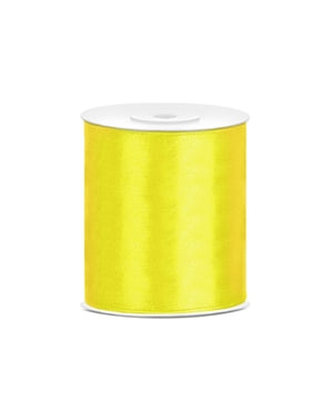 Satinbånd i gul, der måler 10cm x 25m