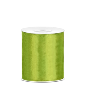 Satin ribbon in light green measuring 10cm x 25m