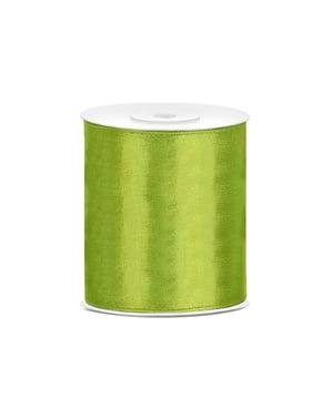 Satinbånd i lysegrøn, der måler 10cm x 25m