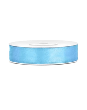 Satin ribbon in sky blue measuring 12mm x 25m