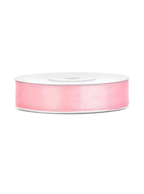 Cinta rosa pálido satinada de 12mm x 25m