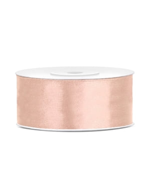 Satin ribbon in pastel brown measuring 25mm x 25m