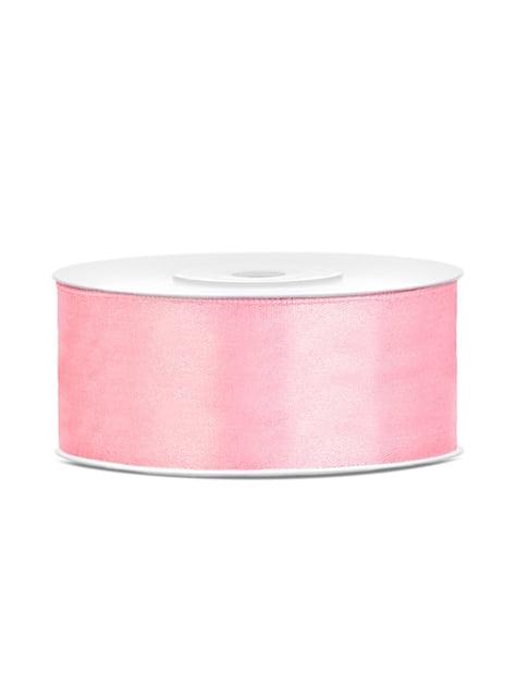 Cinta rosa pálido satinada de 25mm x 25m