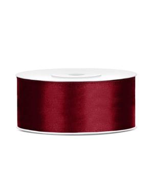 Satinbånd i rødbrun, der måler 25mm x 25m