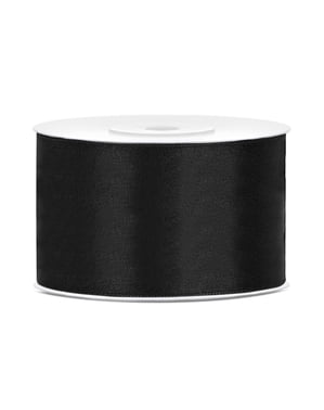 Satin ribbon in black measuring 38mm x 25m