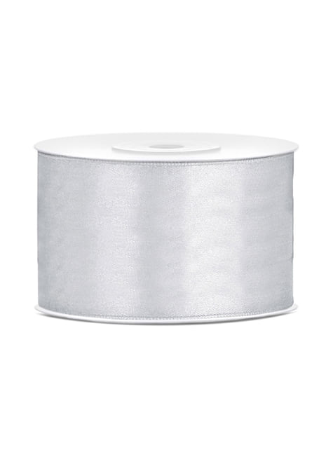 Satin ribbon in silver measuring 38mm x 25m