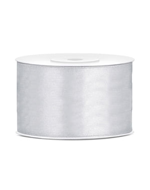Satin ribbon in silver measuring 38mm x 25m