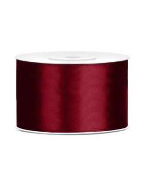 Satin ribbon in maroon measuring 38mm x 25m