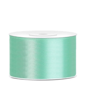 Satin ribbon in mint green measuring 38mm x 25m